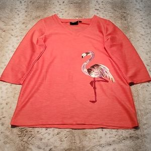 Onque Casual Pink 3/4 Sleeve Blouse Pink Flamingo